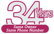 34 Years Same Owner, Same Phone Number